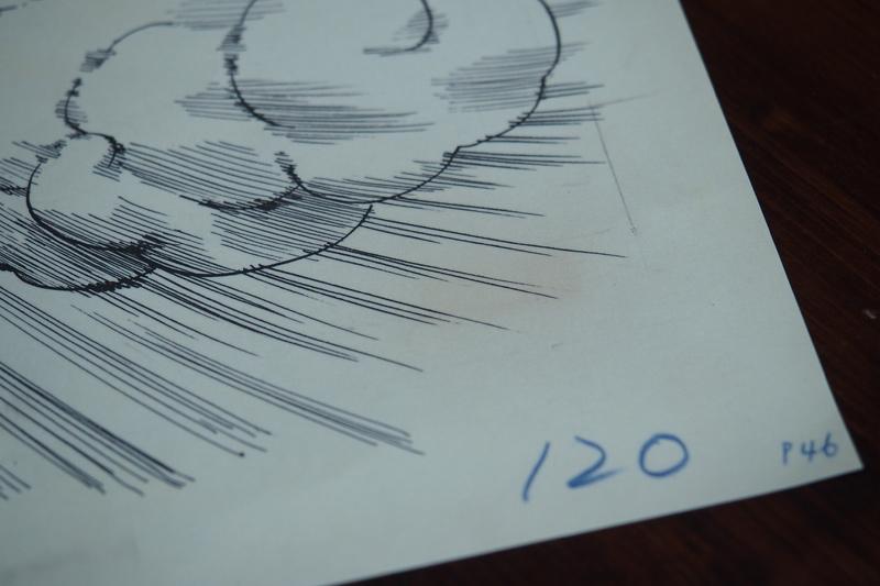 ドラゴンボールの複製原稿を飾る