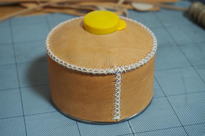 ガス缶(OB缶)用レザーカバー改の製作工程