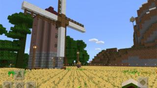 マインクラフトで風車と小麦畑を建築