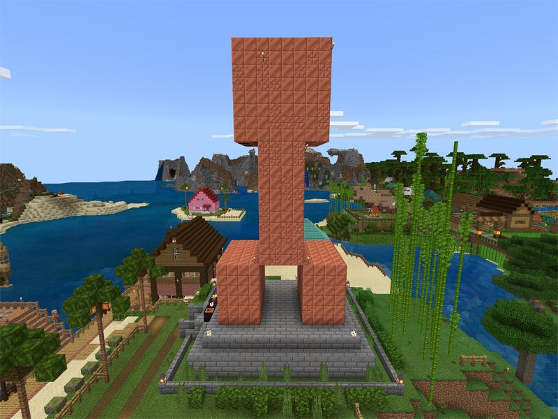 マイクラでクリーパーの巨大銅像を作る