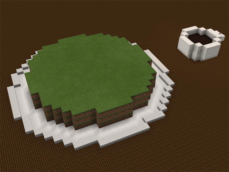 草ブロックだけで抹茶ティラミスケーキを作る