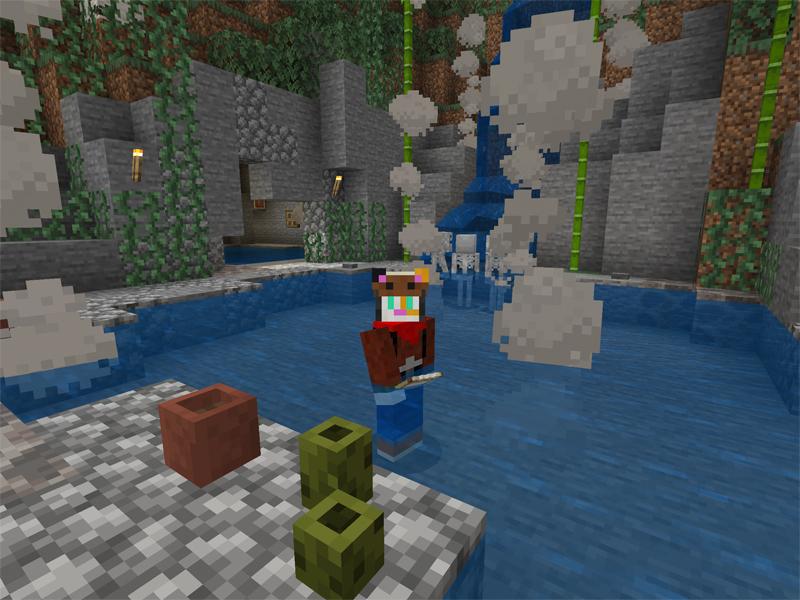 マイクラで野趣満点の温泉を作る